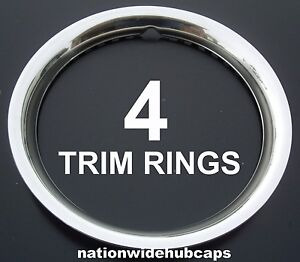 Set Of 4 15 Stainless Steel Wheel Trim Rings Beauty Rims Glamour Ring Rim Bands