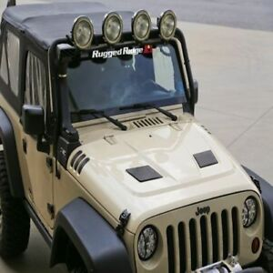 Rugged Ridge Vented Hood Primered Black 07 17 Jeep Wrangler Jk X17759 01