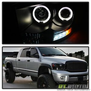 Black 2006 2008 Dodge Ram Led Halo Projector Headlights Lights Lamps Left Right