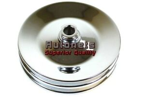 Gm Chrome Double Groove Power Steering Pump Pulley Key Way Sbc Bbc Chevy 350 454