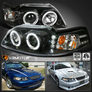 Fits 1999 2004 Ford Mustang Black Led Halo Projector Headlights Lamps Left Right
