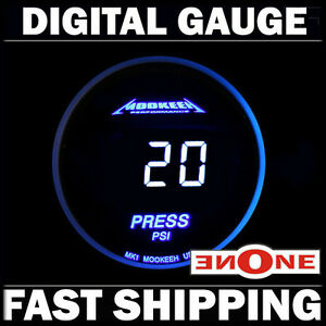 Mookeeh Mk1 52mm Cool Blue Electronic Fuel Press Pressure Gauge Led Lights