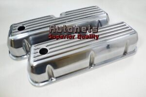 Small Block Ford 289 302 351w5 0l Finned Polish Aluminum Valve Cover Sbf Mustang
