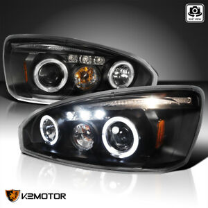 For 2004 2007 Chevy Malibu Halo Projector Headlights Head Lamps Black Left right