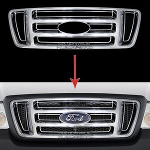 04 08 Ford F150 Chrome Snap On Grille Overlay Front Grill Bar Covers Trim Insert