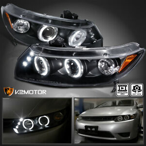 For 2006 2011 Honda Civic 2dr Coupe Led Halo Black Projector Headlights Pair