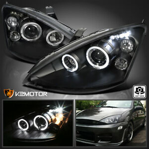 Black Fits 2000 2004 Ford Focus Led Halo Projector Headlights Lamps Left Right
