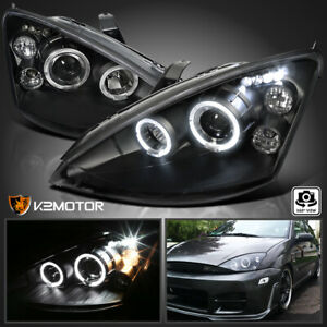 2000 2004 Ford Focus Dual Halo led Projector Headlights Black Left right