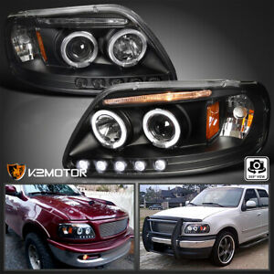 Fit 1997 2003 Ford F150 Led Strip Halo Projector Headlights Black Left right