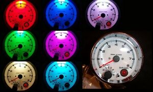 3 3 4 Tachometer Chrome White Face 7 Color Led With Programmable Shift Light