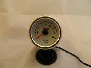 2 Tachometer Gauge Chrome With White Face And White Back Light 2 In Tach