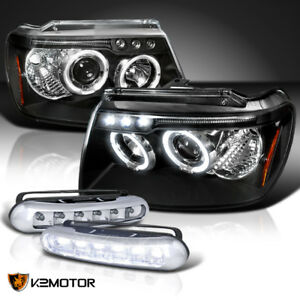 99 04 Jeep Grand Cherokee Black Halo Projector Headlights W Led Driving Fog