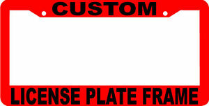 Red Frame Custom Text Personalized Customized Firefighter License Plate Frame