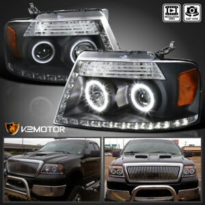 04 08 Ford F150 06 08 Lincoln Mark Lt Black Led Strip Halo Projector Headlight