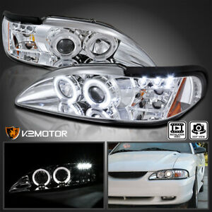 For 1994 1998 Ford Mustang Crystal Clear Lens Led Halo Projector Headlights Pair