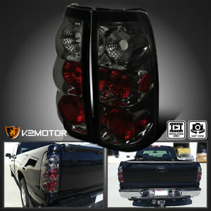 For 2003 2006 Chevy Silverado Smoke Lens Rear Tail Lights Brake Lamps Left right