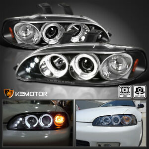 For 1992 1995 Honda Civic 2 3 4dr Black Led Halo Projector Headlights Left right