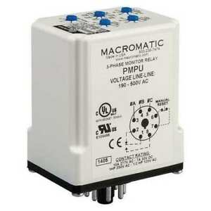 3 Phase Monitor Relay spdt 500vac 8 Pin Macromatic Pmpu
