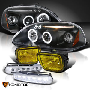 For 1996 1998 Honda Civic Halo Projector Headlight Black Led Drl Amber Fog Lamp
