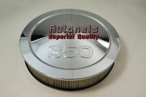 14 Chevy 350 Logo Chrome Steel Air Cleaner Filter Street Hot Rod Recessed Base