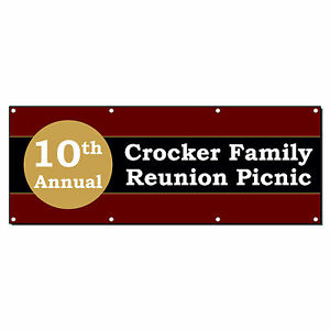 10th Annual Family Reunion Picnic Custom Banner Sign 3 X 6 W 6 Grommets