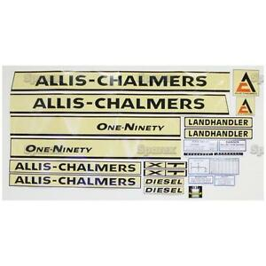 Decal Set Allis Chalmers Ac 190xt Yellow Background Lettering Aftermarket