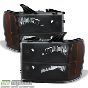 2007 2013 Gmc Sierra 1500 2500hd 3500hd Replacement Black Headlights Lamps 07 13