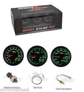 Glowshift Maxtow Double Vision Diesel Boost Pyro Transtemp Gauge Set Mt Dv Ds1