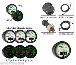 Glowshift Maxtow Double Vision White Oil Pressure Gauge Mt Wdv04