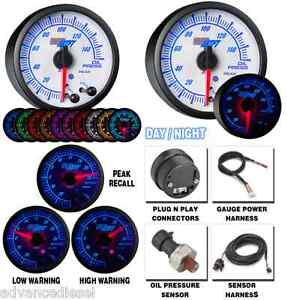 Glowshift White Elite Ten Color Oil Pressure Gauge Gs ewt04