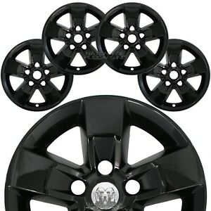 4 Fits Ram 1500 Truck 2013 18 Black 17 Wheel Skins Hub Caps 5 Spoke Rim Covers
