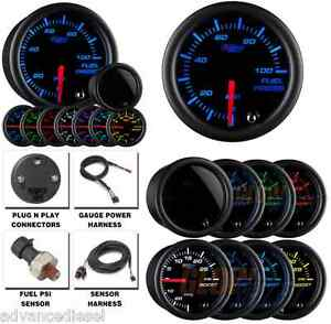 Glowshift Tinted 7 Color 100 Psi Fuel Pressure Gauge Gs T711