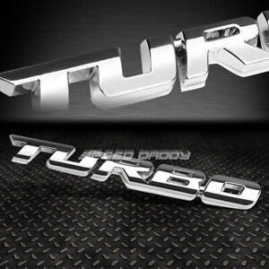 Metal Grill Trunk Emblem Decal Logo Trim Badge Polished Silver Lettering Turbo