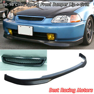 Tr Style Front Bumper Lip Pu Tr Style Grill Abs Fit 96 98 Civic 4dr