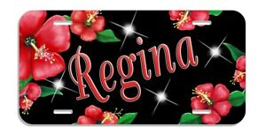 Red Hibiscus License Plate Personalize Any Text Gifts Ladies Girls Frame Flowers