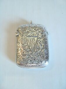 Wonderful Antique English Sterling Silver Match Safe Vesta Case C 1901