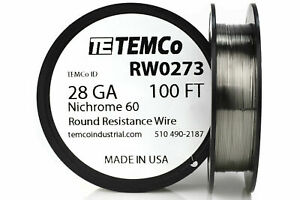 Temco Nichrome 60 Series Wire 28 Gauge 100 Ft Resistance Awg Ga
