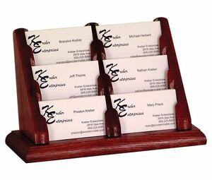 Wooden Mallet 6 Pocket Countertop Business Card Holder Mahogany Bcc2 6mh