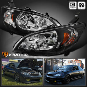 For 2004 2005 Honda Civic Black Headlights Lamps Pair Replacement Left Right