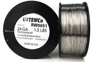 Temco Nichrome 60 Series Wire 24 Gauge 1 5 Lb 1327 Ft resistance Awg Ga