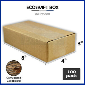 100 8x4x3 Cardboard Packing Mailing Moving Shipping Boxes Corrugated Box Cartons