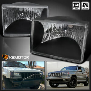 For 1993 1998 Jeep Grand Cherokee Black Headlights Lamps Left Right Replacement