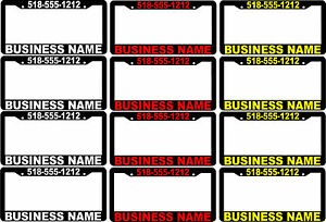 Lot Of 12 Mixed Color Custom Business Name Phone Number License Plate Frames