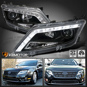 Fit 2010 2012 Ford Fusion Black Led Strip Projector Headlights Head Lamps Pair