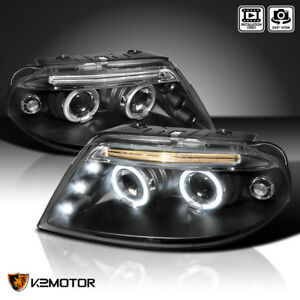 For 2001 2005 Vw Passat Black Led Dual Halo Projector Headlights Pair Led