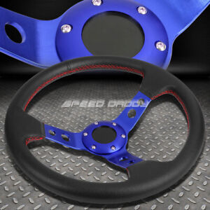 350mm 3 Deep Dish 6 Bolt Blue Racing Steering Wheel Red Stitching Horn Button