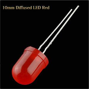 500pcs 8000mcd 2pin 10mm Red Color Red Light Round Top Diffused Light Led