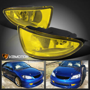 For 2004 2005 Honda Civic 2 4dr Yellow Bumper Drivng Fog Lights Switch H8 Bulbs