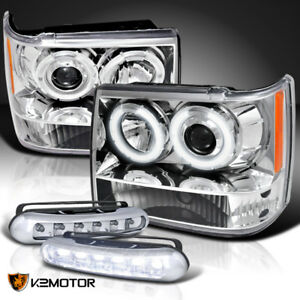 93 96 Jeep Grand Cherokee Halo Projector Headlights Led Bumper Fog Lamps