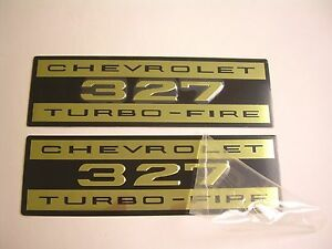 1962 1966 Chevy Impala Belair Biscayne 327 Valve Cover Decal Aluminum Pair